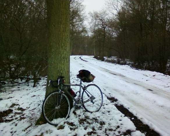 icy track with bike